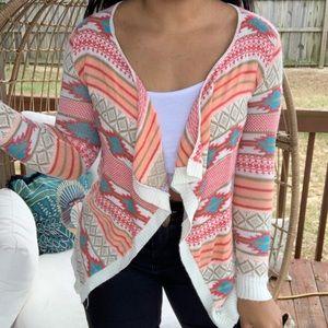 Rue 21 Boho Tribal Aztec Sweater Cardigan SZ M